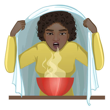 Ill African American young woman makes inhalation, vector image