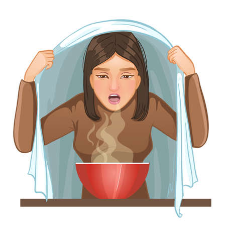 Ill young woman makes inhalation, vector image