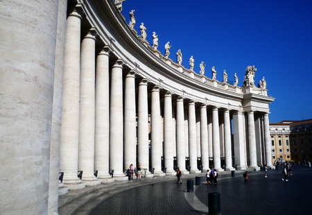 Columns of the Vatican in summer.
