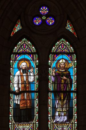 feudalism: Stained glass with two saints image, Cathedral of Lujan, Argentina