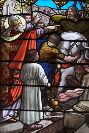feudalism: Stained glass with biblical scene, Cathedral of Lujan, Argentina Editorial