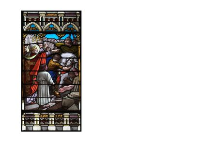 feudalism: stained glass with biblical scenes, isolated in white