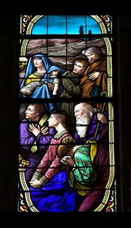 stained glass church window with biblical image