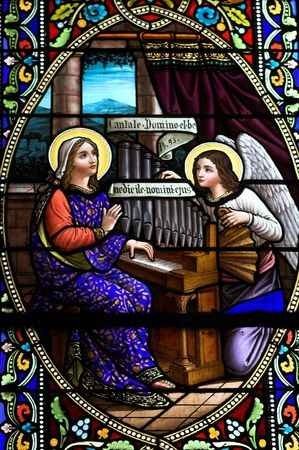 stained glass window with biblical image