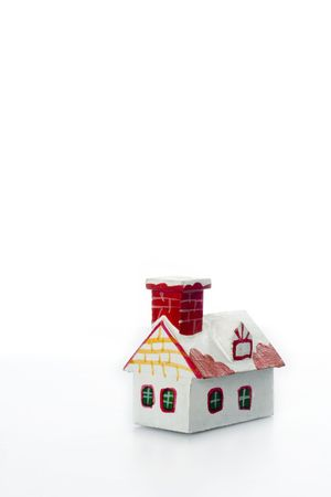 handmade wooden toy house.vertical image. photo
