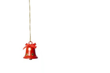 jingle-bell hanging in white. studio shot. horizontal image. Stock Photo - 3945753
