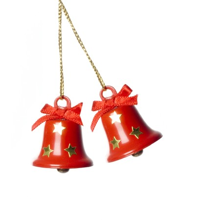 jingling: two tinkle bells hanging in white. isolated.