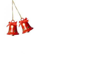 two jingle-bells in white. horizontal image.  greeting card. Stock Photo - 3945187