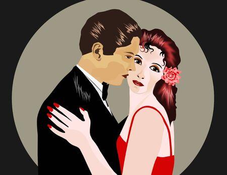 sociable: Man and woman at romantic dance