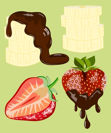 dipped: Strawberry and banana dipped in chocolate Stock Photo