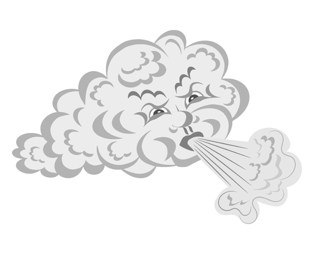 gale: Wind blows from the cloud - cartoon