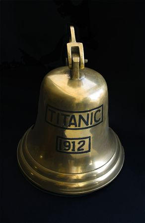 titanic: Bell with an inscription Titanic on  black background