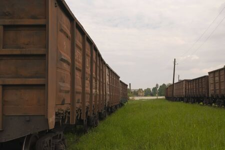 deadlock: Two freight trains stand at deadlock Stock Photo