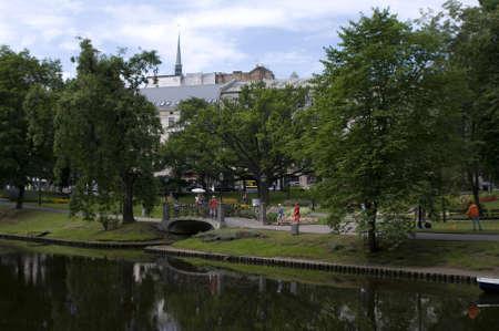 chanel: Chanel in city park in centre of Riga Stock Photo
