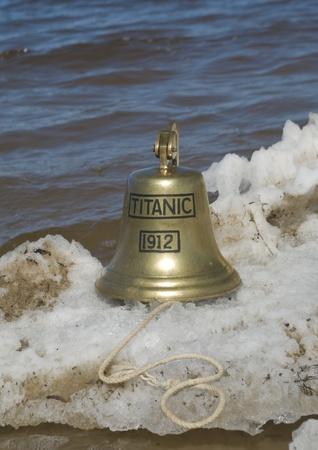 titanic: Ship bell of Titanic ship in snow