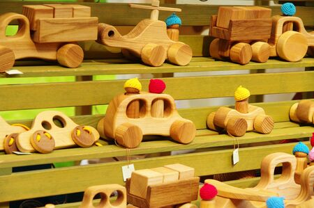 wooden handmade: wooden handmade toy cars at the fair of artisans in Riga Stock Photo