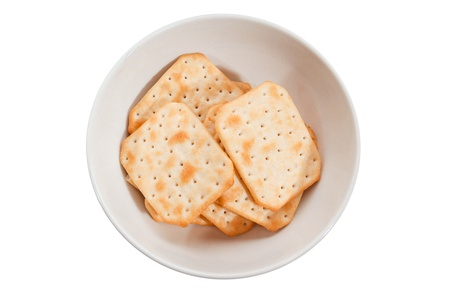 top veiw: crackers in round  plate on white background isolated top veiw Stock Photo