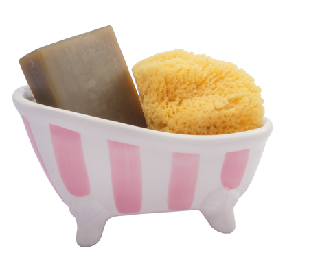 hygien: natural sponge and soap in bath on white background