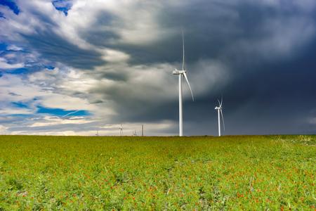 Wind Farm on a poppy field, Georgia, May 2017 Stock Photo
