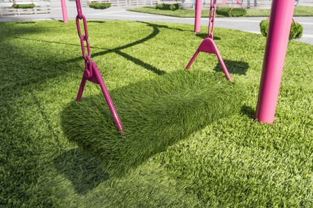 Fluffy Swing on the Green Lawn