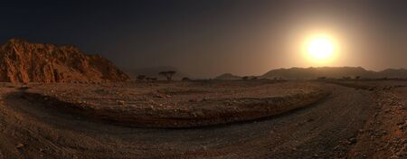 Panoramic View of the Dry Landscape at Sunset