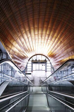 Jumeirah Lake Towers Metro Station, Dubai, United Arab Emirates - Aug.10, 2018: Modern design of public transport hub Editorial