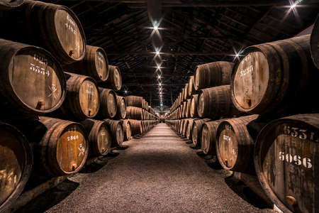 Vila Nova de Gaia, Porto, Portugal - Nov.22, 2019: Taylor's Port Wine Cellar. Barrels filled with wine, tightly stacked in rows in a special building for storing this product. Taylor's is one of the oldest of the founding Port houses