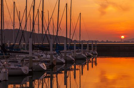mooring: Yacht Harbor Sunset  Editorial