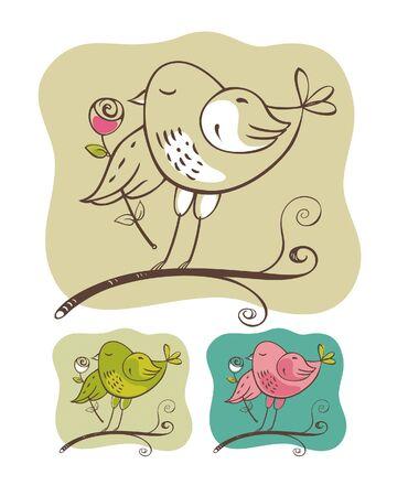 Bird and flower 版權商用圖片