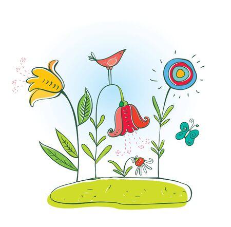 bird and flowers