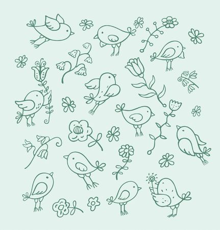birds and flowers Stock Photo - 4640442