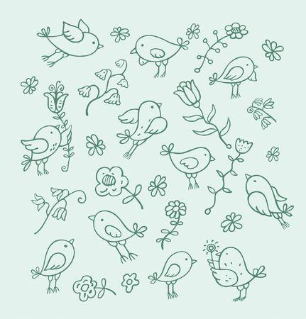 birds and flowers 版權商用圖片