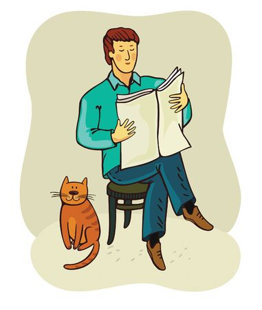 news reader: cat and man Stock Photo