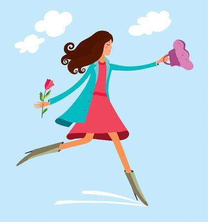 spring happi girl 版權商用圖片