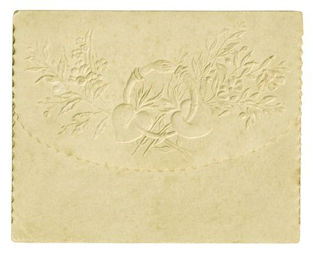 Old wedding invitation on a white background