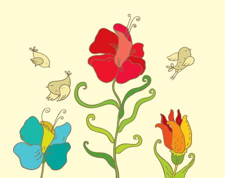 Three birds and scent of flowers