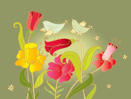 Two birds enjoy the floral aroma