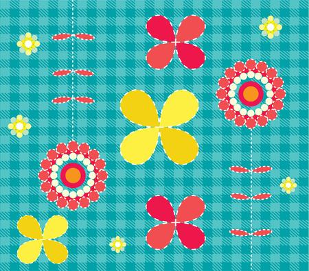 Blue vector background pattern flowers 向量圖像