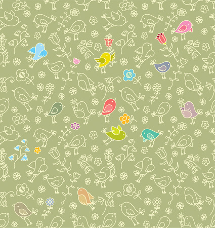 Background pattern birds and flowers