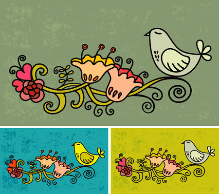 Vector illustrations bird and flower Stock Vector - 4809707