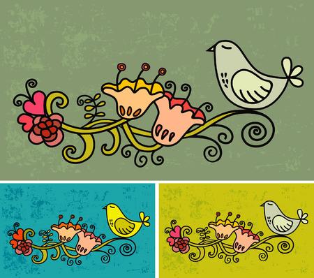 Vector illustrations bird and flower