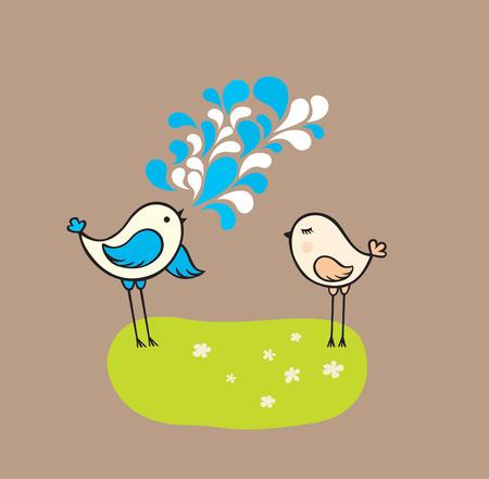 dos pájaros Vectores