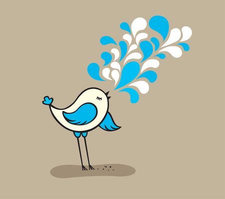 abstract vectors: SINGING CUTE BIRD