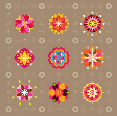 design elements flowers set 向量圖像