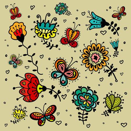 design elements flowers set 일러스트