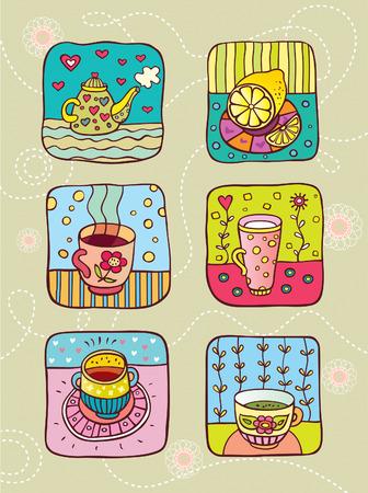tart: tea with lemon Illustration