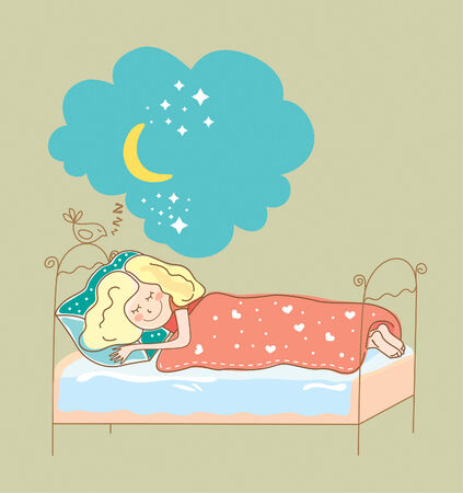 sleeping kid: vector illustration girl sleeping