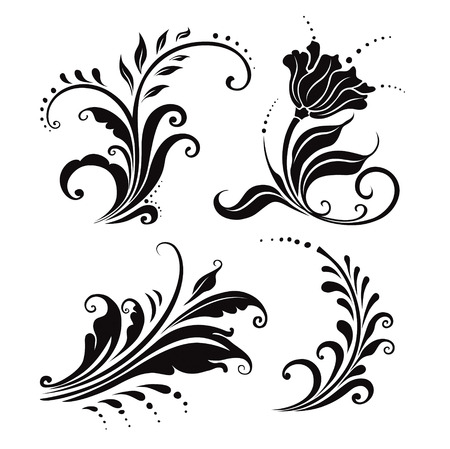 vector illustration. four black and white floral elements
