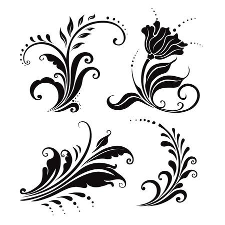 cuatro elementos: ilustraci�n vectorial. cuatro en blanco y negro elementos florales