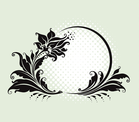 vector illustration. four black and white floral frame